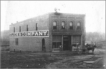 Click & Company was one of the first buildings built along Main Street and now houses Yadkin Valley Bank's Corporate Offices.  Photo courtesy of the Elkin Historical Collection and the Surry County Historical Society
